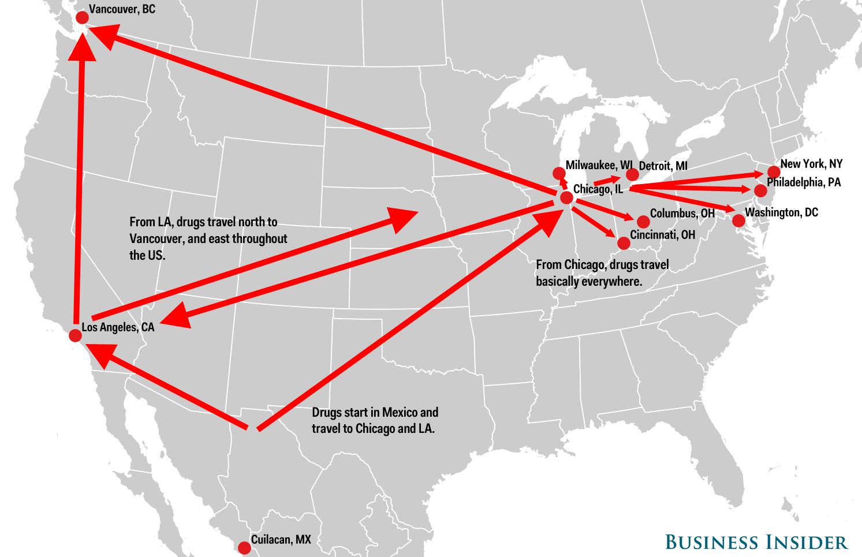 Карта на доставките на дрога в САЩ от картелите