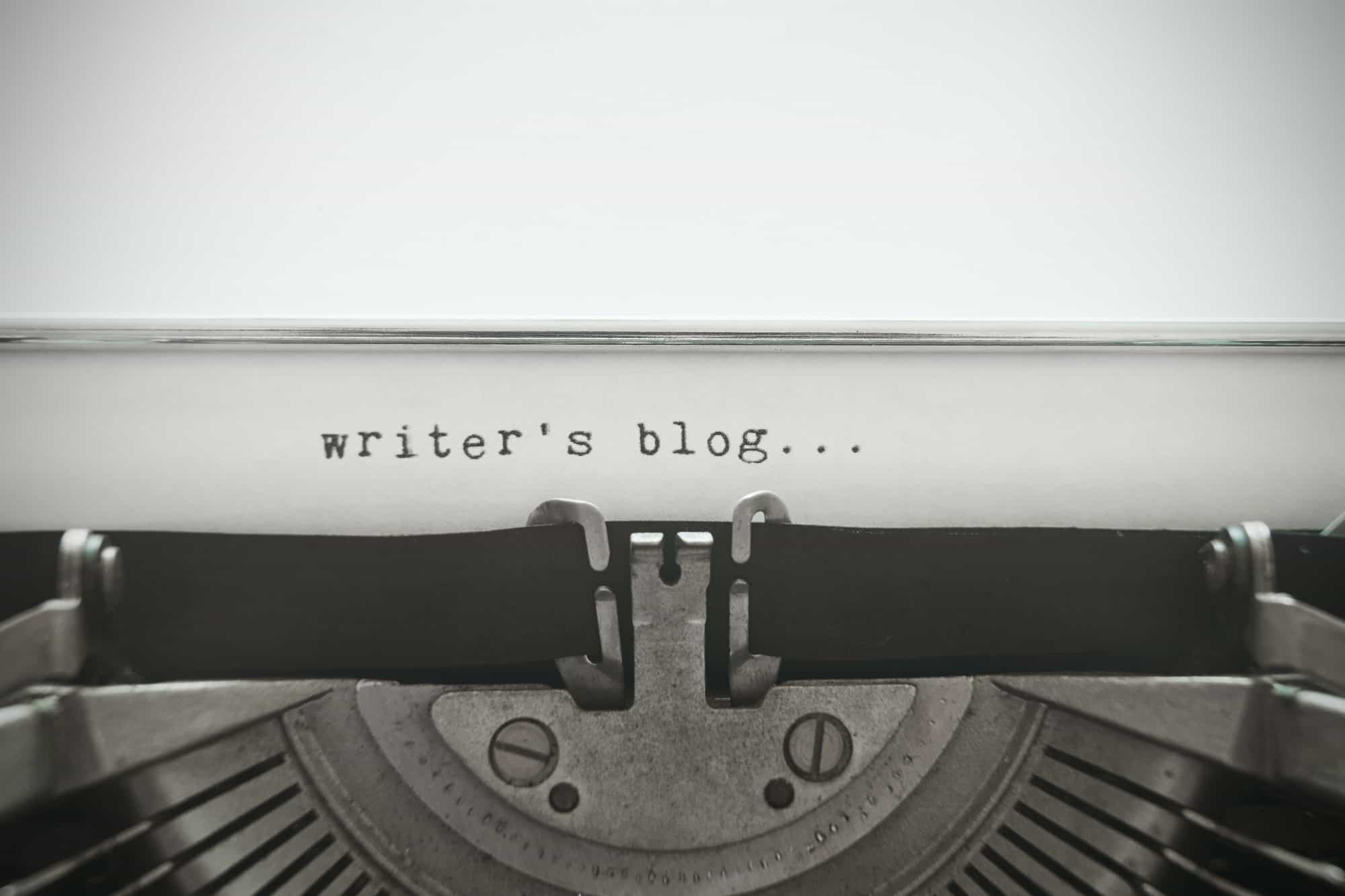 "Words ""writer's blog"" written with old typewriter"