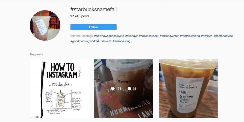 Хаштаг с постове за грешно изписване на имена в Старбъкс