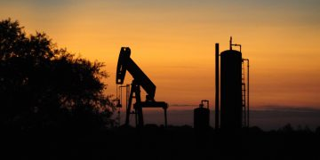 A silhouette of crude oil and natural gas in Northwest Oklahoma. silhouette