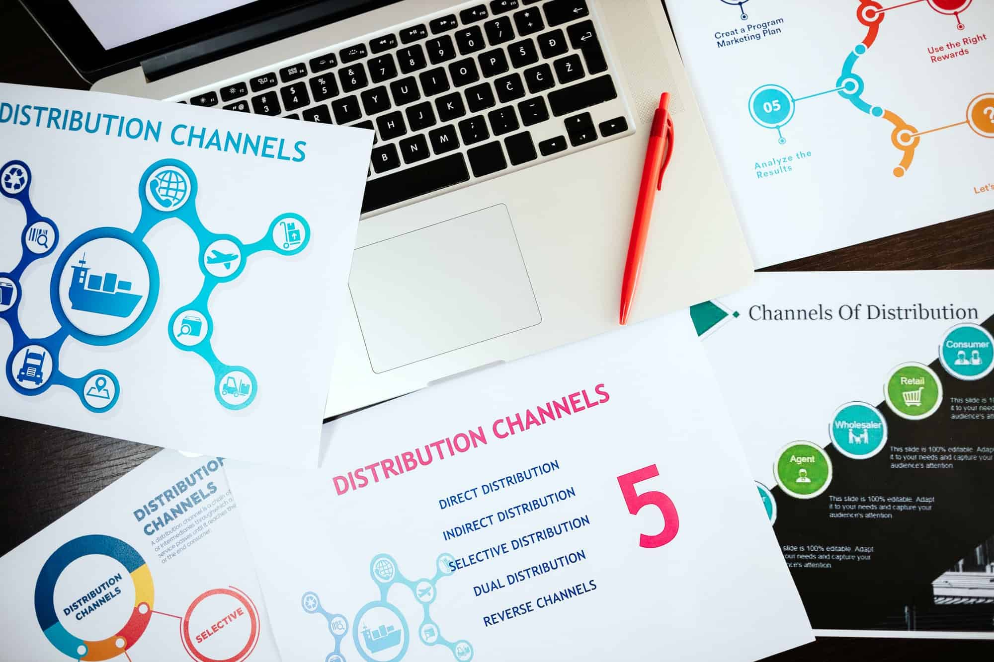 marketing distribution channels plan on office desk